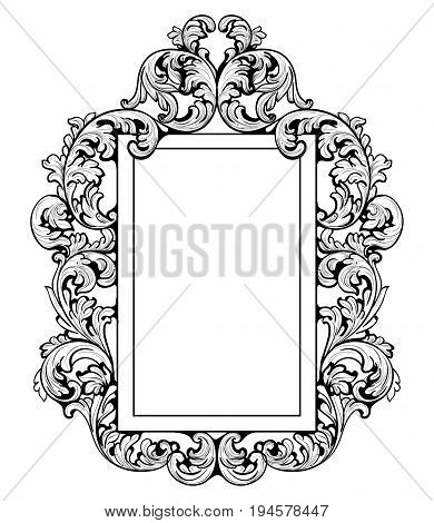 Vintage Imperial Baroque Mirror frame. Vector French Luxury rich intricate ornaments. Victorian Royal Style decors