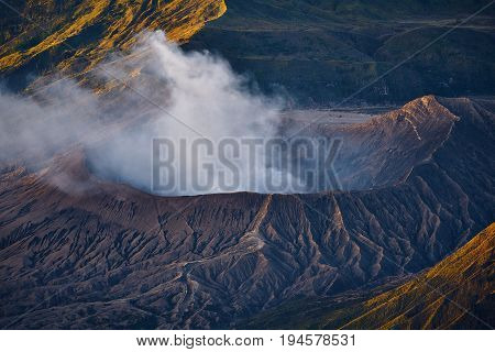 Active Volcano Mount Bromo At Morning Sunrise In Tengger Semeru National Park, Indonesia