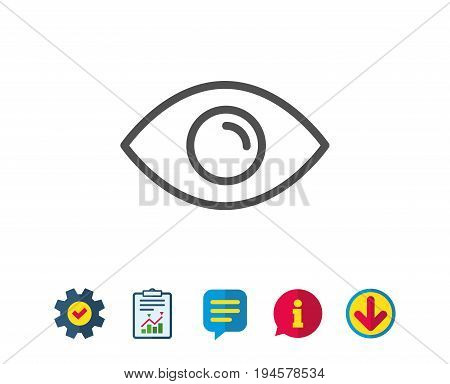 Eye line icon. Look or Optical Vision sign. View or Watch symbol. Report, Service and Information line signs. Download, Speech bubble icons. Editable stroke. Vector