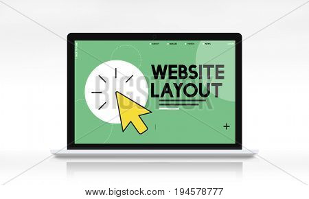 Laptop with web development graphic on screen