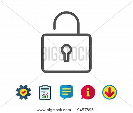 Lock line icon. Private locker sign. Password encryption symbol. Report, Service and Information line signs. Download, Speech bubble icons. Editable stroke. Vector