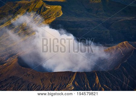 Morning View From Volcanic Eruption Of Active Volcano In Bromo Tengger Semeru National Park, Indones