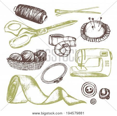 Sewing Accessories - color vector hand drawn vintage illustration. Realistic thread spool, holder, sewing machine, silk band, knitting needle, tape-line, tambour, basket of wool, scissors, button