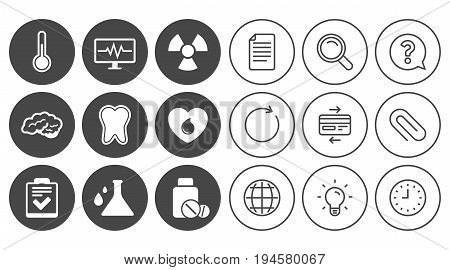Medicine, medical health and diagnosis icons. Blood donate, thermometer and pills signs. Tooth, neurology symbols. Document, Globe and Clock line signs. Lamp, Magnifier and Paper clip icons. Vector