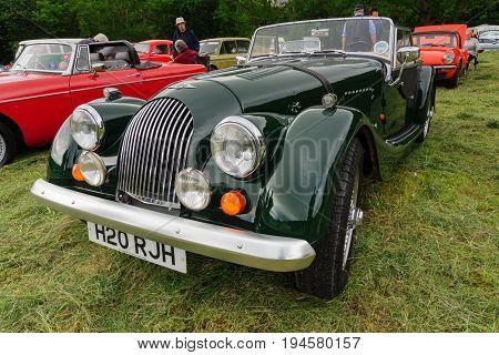 Llangollen Wales UK - July 1 2017: Morgan 4/4 1600 two door roadster convertible a classic British car first built in 1936 and still in production at a vintage vehicle rally