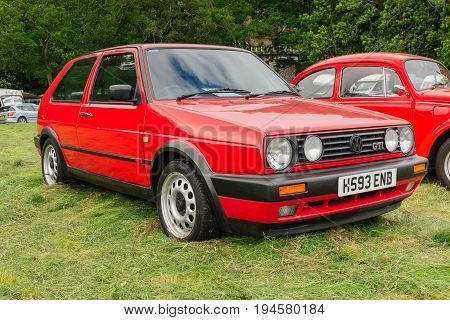 Llangollen Wales UK - July 1 2017: Volkswagen Golf GTI Mark 2 a classic German hot hatch from the 1980s the Mk2 featured a 1.8 litre fuel injected engine often described as a hot hatch