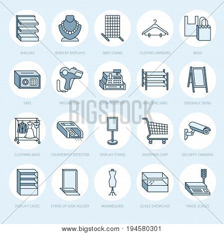 Retail store supplies line icons. Trade shop equipment signs. Commercial objects - cash register, scales, shopping cart, shelving, display cases. Thin linear colored signs for warehouse store.