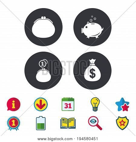 Wallet with cash coin and piggy bank moneybox symbols. Dollar USD currency sign. Calendar, Information and Download signs. Stars, Award and Book icons. Light bulb, Shield and Search. Vector