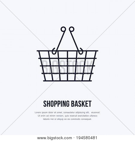 Shopping basket vector flat line icons. Retail store supplies, trade shop, supermarket equipment sign. Commercial trolley object thin linear sign for warehouse store.