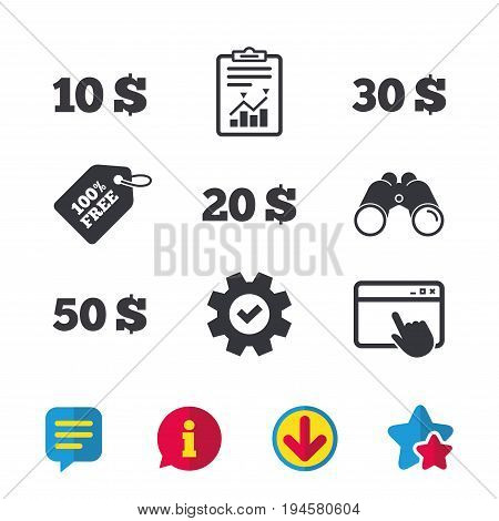Money in Dollars icons. 10, 20, 30 and 50 USD symbols. Money signs Browser window, Report and Service signs. Binoculars, Information and Download icons. Stars and Chat. Vector