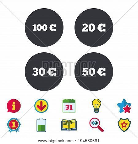 Money in Euro icons. 100, 20, 30 and 50 EUR symbols. Money signs Calendar, Information and Download signs. Stars, Award and Book icons. Light bulb, Shield and Search. Vector