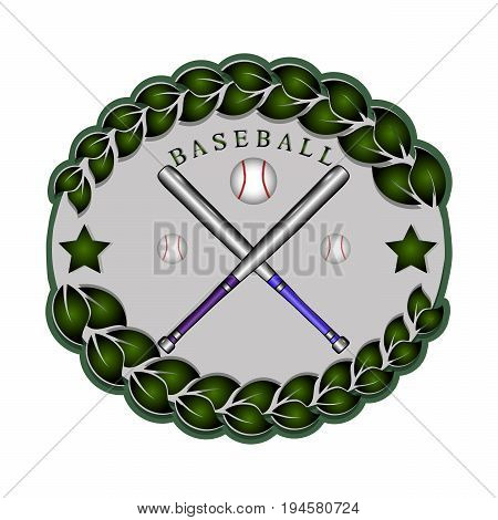Abstract vector icon illustration of logo for chrome plated steel for bat baseball, flying ball closeup.