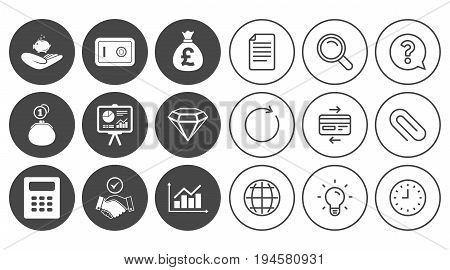 Money, cash and finance icons. Handshake, safe and calculator signs. Chart, safe and jewelry symbols. Document, Globe and Clock line signs. Lamp, Magnifier and Paper clip icons. Vector