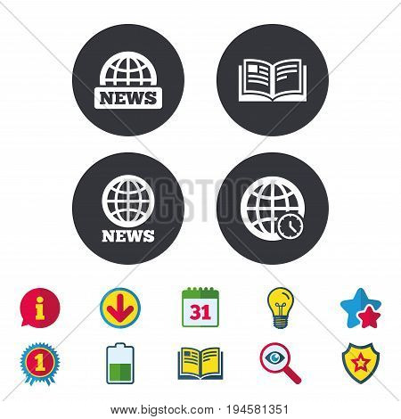 News icons. World globe symbols. Open book sign. Education literature. Calendar, Information and Download signs. Stars, Award and Book icons. Light bulb, Shield and Search. Vector