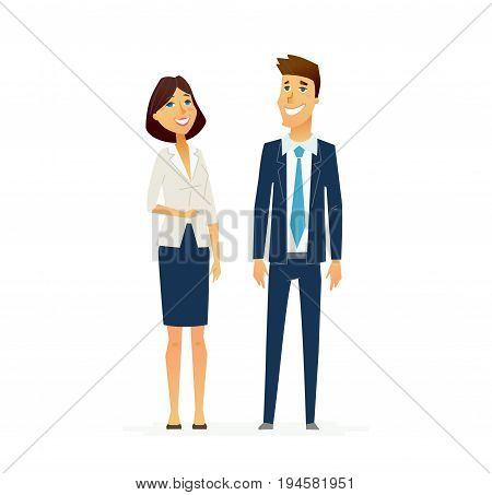 Business People - colored vector modern flat design illustrative composition of cartoon characters with gadgets. Male and female in suits. Responsibility, efficiency, success.