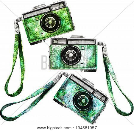 Watercolor vintage SLR camera with green floral body. Front view. Illustration isolated on white background