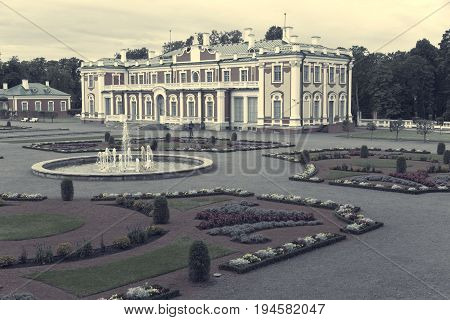 TALLINN ESTONIA- SEPTEMBER 7 2015: Kadriorg Palace at Kadriorg Park in Tallinn Estonia. retro effect