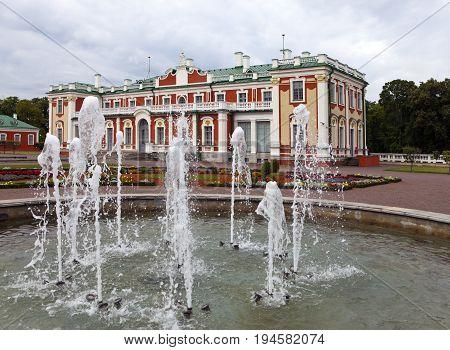 TALLINN ESTONIA- SEPTEMBER 7 2015: fountain before the palace Kadriorg at Kadriorg Park in Tallinn Estonia.