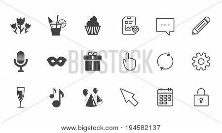 Party celebration, birthday icons. Cocktail, air balloon and champagne glass signs. Gift box, flowers and carnival symbols. Chat, Report and Calendar line signs. Service, Pencil and Locker icons