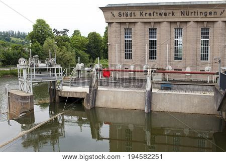 NURTINGEN GERMANY- MAY 31 2012: hydroelectric power station on the river Neckar in the Nurtingen in southern Germany