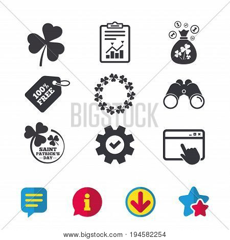Saint Patrick day icons. Money bag with clover sign. Wreath of trefoil shamrock clovers. Symbol of good luck. Browser window, Report and Service signs. Binoculars, Information and Download icons