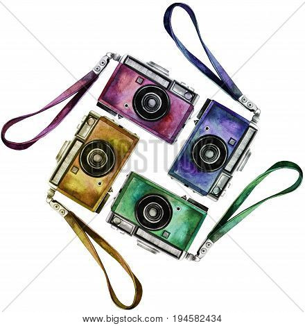 Watercolor set of multicolor vintage reflex cameras. Hand painted design elements isolated on white background