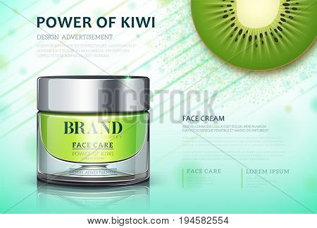 Moisture cream based kiwi. Cosmetic ads template. Skin care cosmetic cream power of kiwi. cream bottle Vector illustration for cosmetic ads or magazine.