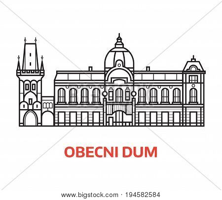 Prague Municipal house and Powder tower vector illustration in line art design. City hall Obecni Dum and Powder Gate landmarks emlem in linear style.