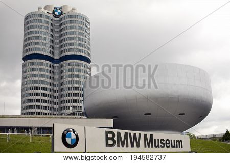 MUNICH GERMANY - JUNE 1 2012 : Modern car museum BMW in Munich Germany