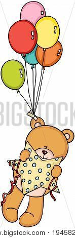 Scalable vectorial image representing a teddy bear holding star flying with balloons, isolated on white.