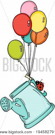 Scalable vectorial image representing a watering can with ladybird flying with balloons, isolated on white.