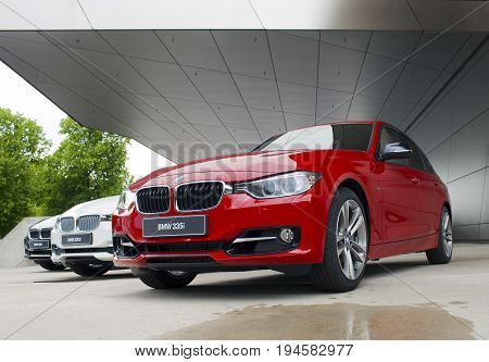 MUNICH GERMANY - JUNE 1 2012 : BMW cars presented at BMW World showroom in Munich Germany.