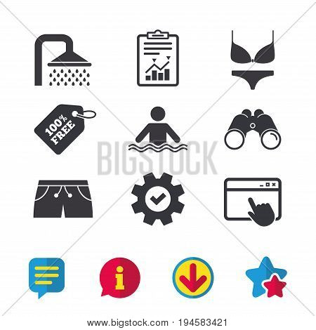 Swimming pool icons. Shower water drops and swimwear symbols. Human stands in sea waves sign. Trunks and women underwear. Browser window, Report and Service signs. Vector