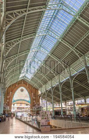 VALENCIA, SPAIN - JUNE 12, 2017: Steel contruction of the Mercado Colon market hall in Valencia, Spain