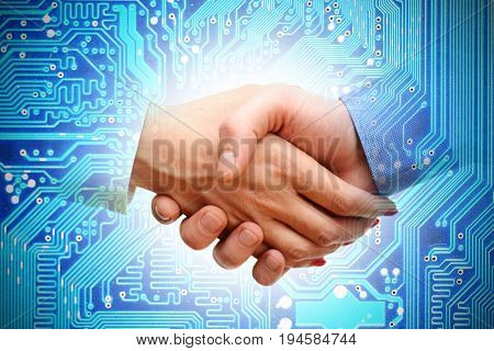 IT transaction or merger between companies, abstract image