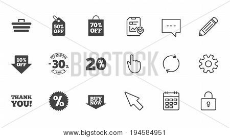 Sale discounts icon. Shopping cart, coupon and buy now signs. 20, 30 and 50 percent off. Special offer symbols. Chat, Report and Calendar line signs. Service, Pencil and Locker icons. Vector