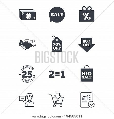 Sale discounts icon. Shopping, handshake and cash money signs. 25, 70 and 80 percent off. Special offer symbols. Customer service, Shopping cart and Report line signs. Online shopping and Statistics