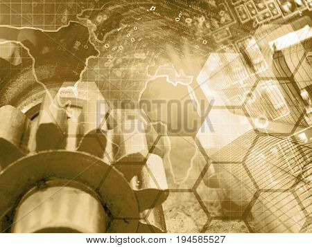 Computer background in sepia with electronic device map gear and digits.
