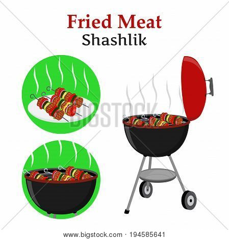 Barbecue set - grill station, fried, roasted meat and vegetables - shashlik, kebab. Picnic vector illustration. Made in cartoon flat style