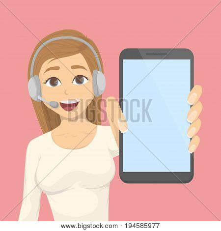 Call center woman with headset and showing empty smartphone. Service center.