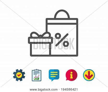 Gift box with Shopping bag line icon. Present or Sale sign. Birthday Shopping with Discounts symbol. Package in Gift Wrap. Report, Service and Information line signs. Download, Speech bubble icons