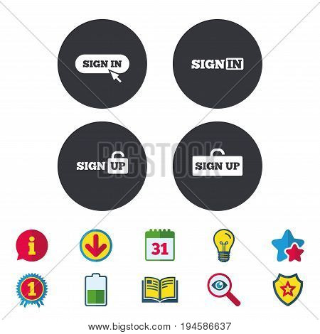 Sign in icons. Login with arrow, hand pointer symbols. Website or App navigation signs. Sign up locker. Calendar, Information and Download signs. Stars, Award and Book icons. Vector