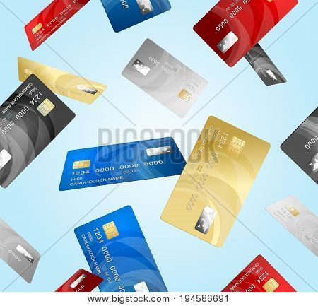 Realistic Credit Plastic Card Pattern Background on a Blue Background Banking Finance Currency Concept Electronic Shopping. Vector illustration