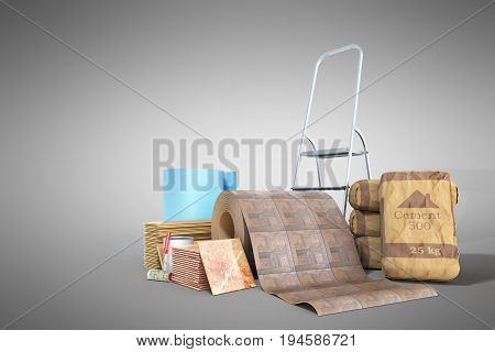 Concept Of Repair Work Construction Materials Isolated On White 3D Rendering On Grey