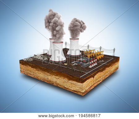 The Concept Of Ecologically Problems The Thermal Power Stations 3D Render On Blue