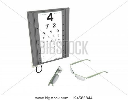 The Optometrist Board 3D Render On A White Background No Shadow