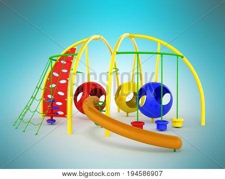 Childrens Playground Mesh Slide Balls Red Blue Green 3D Render On Blue Background