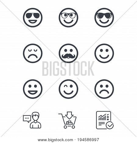 Smile icons. Happy, sad and wink faces signs. Sunglasses, mustache and laughing lol smiley symbols. Customer service, Shopping cart and Report line signs. Online shopping and Statistics. Vector