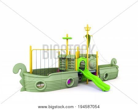 Playground For Children Ship Yellow Lime Violet 3D Render On White Background