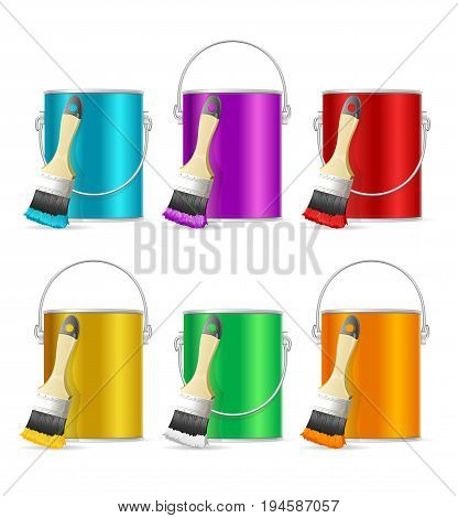 Realistic Color Steel Can Bucket and Paint Brush Set Palette and Equipment for Renovation House Work. Vector illustration
